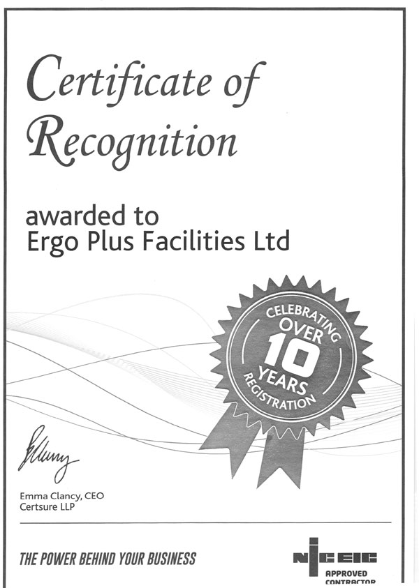 Certificate of Recognition for Ergoplus Facilities
